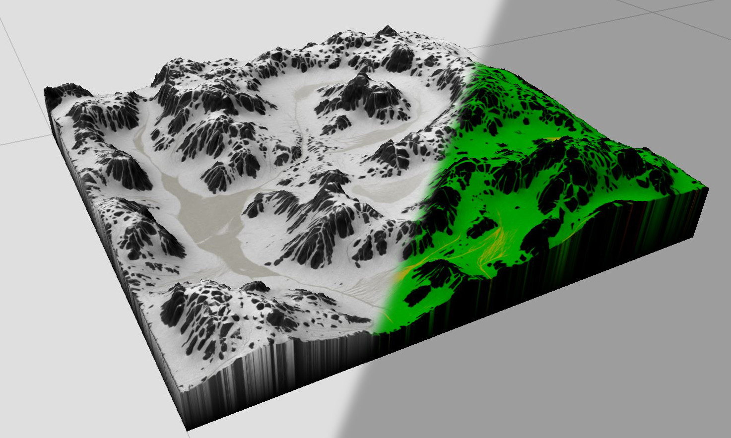 Left is a kind of beauty pass inside Worldmachine - on the right side we do see a splatmap for shading inside UE4